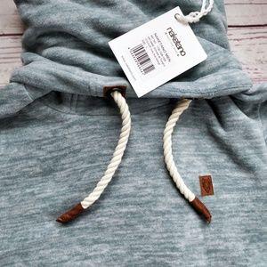 NWT NAKETANO Light Blue High Collar Fleece Sweater NWT